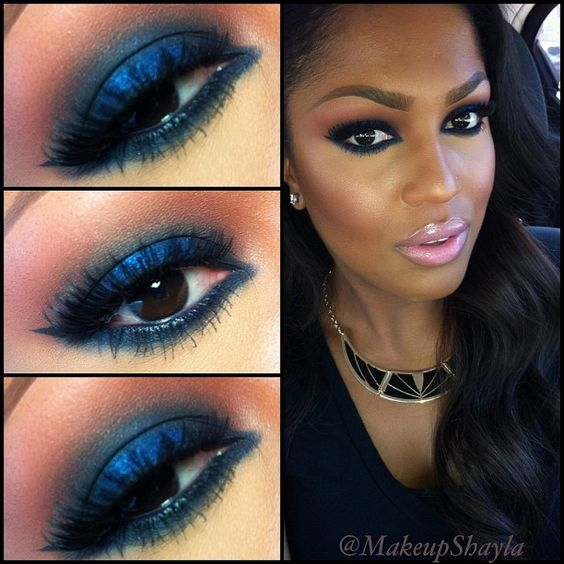 """Lid: Nars night flight all over with Mac deep truth on the center of lid. Crease: mac brownscript and night flight. Anastasia azure eye pencil in waterliner. Night flight smudged on bottom lash line. """"Feline"""" lashes from @houseoflashes  @makeupshayla-"""