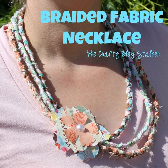 I love multi colored necklaces and will have to make this.  The Crafty Blog Stalker: No Sew Braided Fabric Necklace