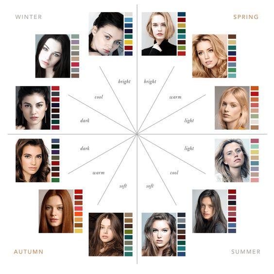 Cerchio dell'analisi dei colori dell'armocromia: vengono divise le diverse tonalità di pelle, capelli e occhi secondo le stagioni dell'armocromia. Fonte: Pinterest