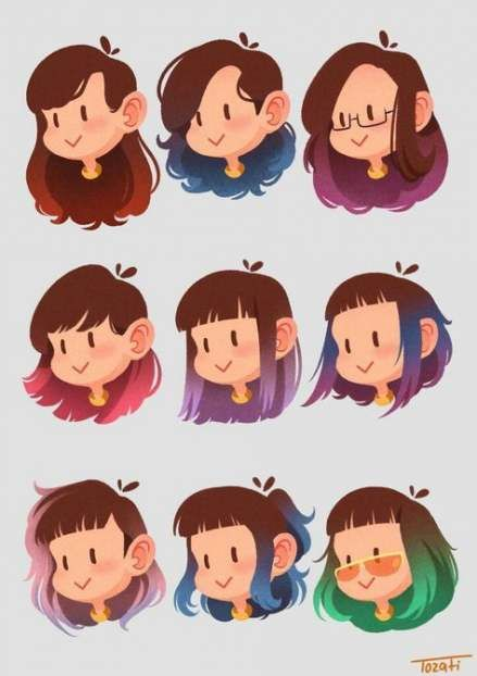 Easy Cartoon Art Styles : cartoon, styles, Ideas, Drawing, Hairstyles, Cartoon, Characters,, Hair,, Artist