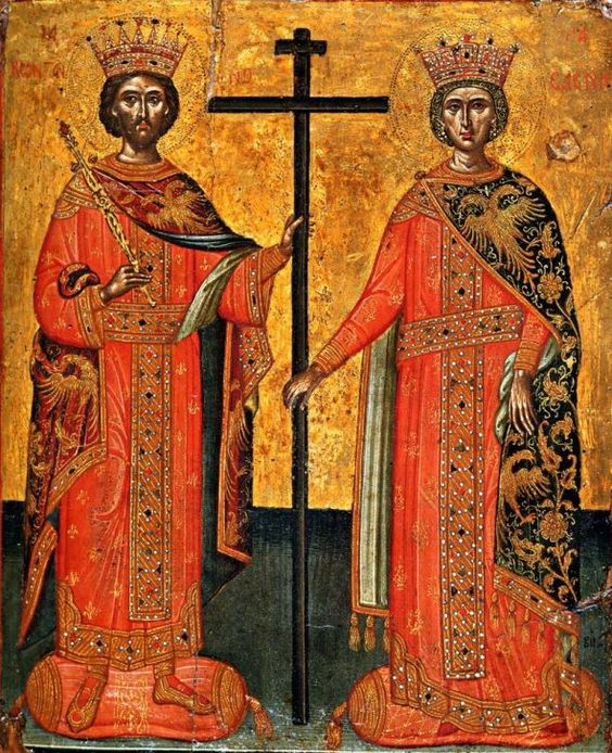 Icon of the Holy Equal-to-the-Apostles Emperor Constantine and Queen Elena