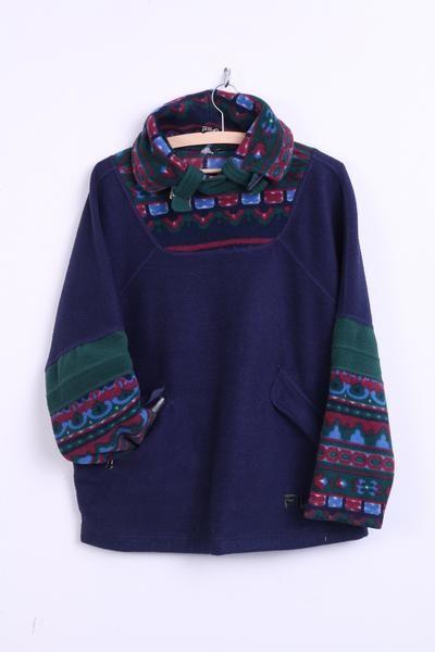FILA Womens XL/XXL Fleece Top Jacket Navy Winter Pockets