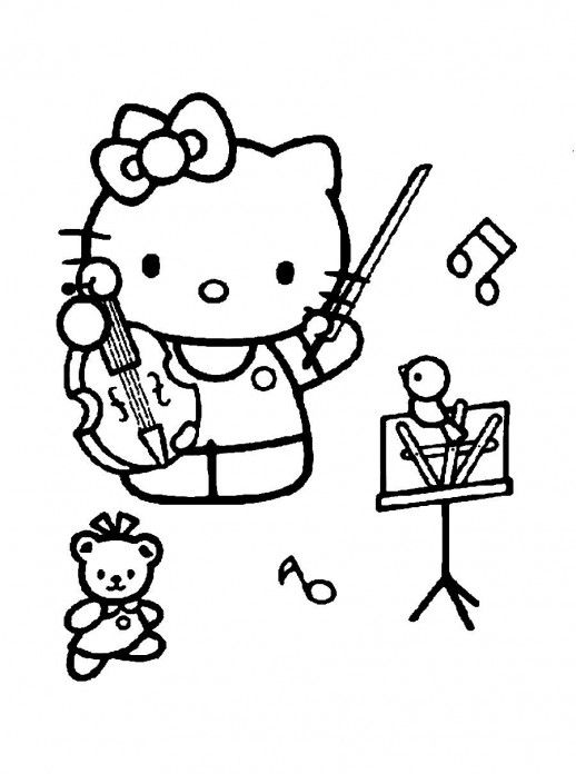 Hello Kitty Playing Violin With The Birds Sanrio Coloring Pages 518x696 Jpg 518 696 Pixels Cartoon Coloring Pages Coloring Pages Embroidery Patterns