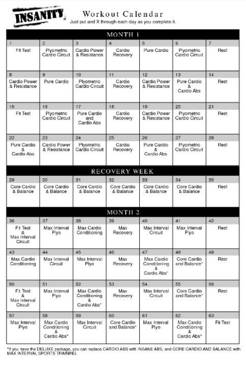 Insanity Workout Sheets – Insanity Workout Sheet
