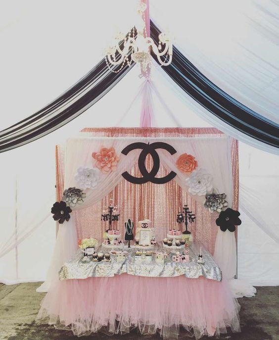 Loving this Chanel Baby Shower! The dessert table is gorgeous!! See more party ideas and share yours at CatchMyParty.com #chanel #babyshower