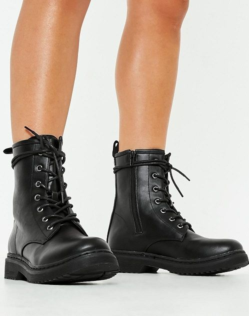 Black Lace Up Combat Boots for Women