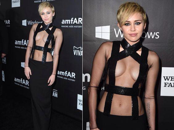 Miley Cyrus at Amfar in Tom Ford