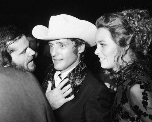 Jack Nicholson, Dennis Hopper & Michelle Phillips. Oscars after-party in 1970.