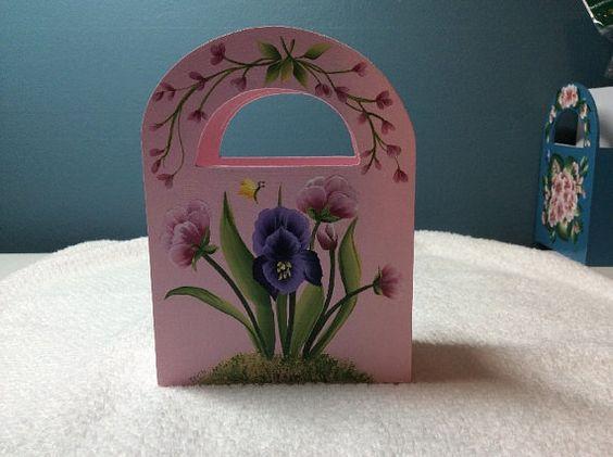 PURPLE iris Floral Paper Desk Caddy GIFT Box by TRISHSINDOORGARDEN