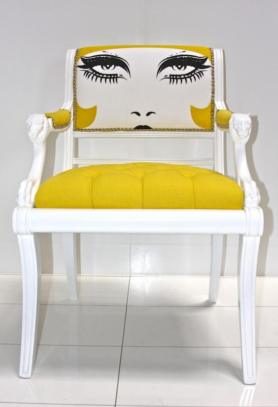 Arm/Side Chair - Eclectic with pop...have 2 for your dining area...love the bright upholstery & painted backs!:
