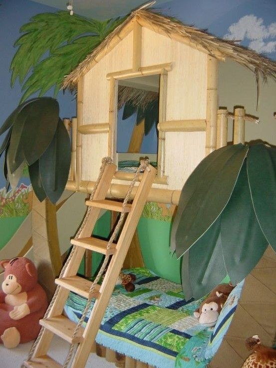 Here is a gender neutral Surf shack theme bed perfect for a girl or boys room complete with bamboo and thatching to create that tropical theme bedroom. All you have to do is add some tropical bedding, and some beach and surf decor and youve created a tropical theme bedroom for your kids.