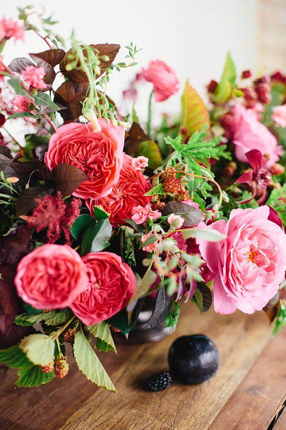 In thesearrangements, Sarahused:Yves Piaget Rose,Baroness Rose, Astilbe, Blackberry, Clematis, Ranunculus, Plum Foliage, Ninebark, Smoke Bush, Lemon Scented Geranium, and Penstemon.
