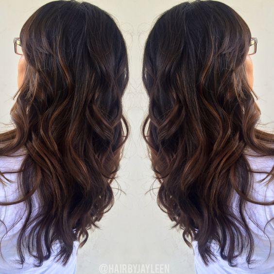 Brown caramel balayage highlights, chocolate haircolor, warm brown hair, brunette, hair painting