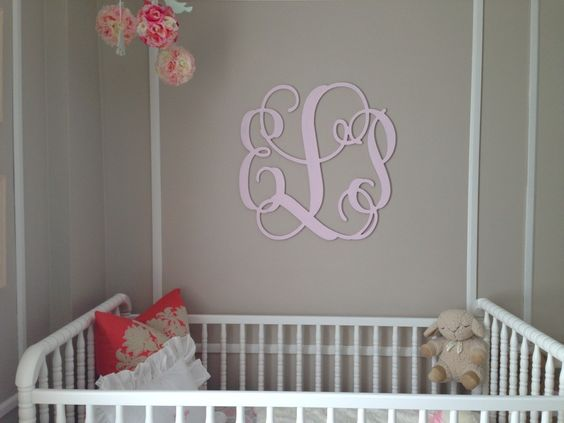 Picture Frame Molding of the Monogram Above the Bed - #nurserydecor #abovethecrib