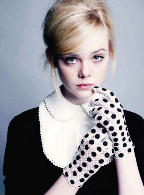 collar. gloves.: Marie Claire, Polka Dots, Polkadot, Peter Pan Collars, Black White, Gloves Elle, Ellefanning, Dot Gloves, Elle Fanning