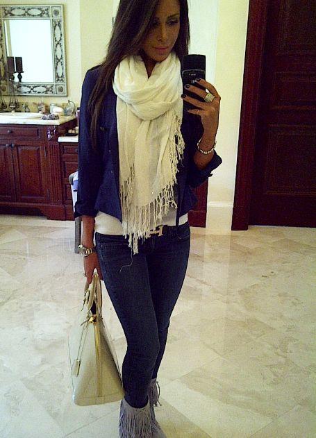 Fringe scarf, Fringe boots!