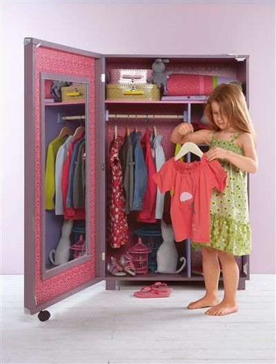 Armoire dressing fille th me papivole violet vertbaudet for Catalogue vertbaudet meuble