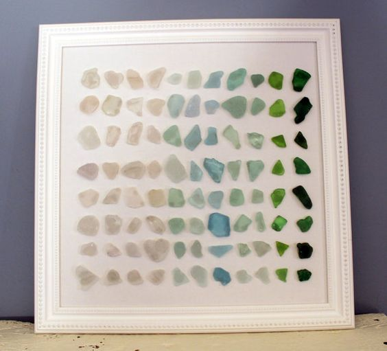 Sea Glass  Beach Glass Art in White Frame by LakeMichiganBaubles, $55.00