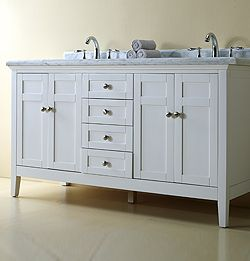 RENI WHITE DOUBLE VANITY 60 1000 Incl Granite Counter Top And Sink Bathr