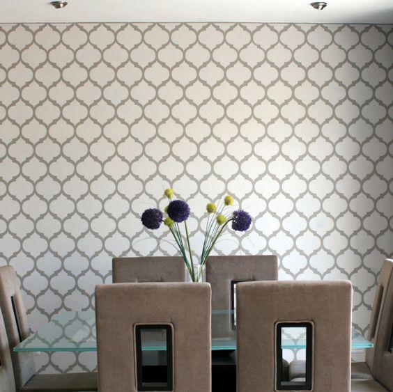Plantilla decorativa para el dise o de interiores pinta y - Plantillas decorativas pared ...