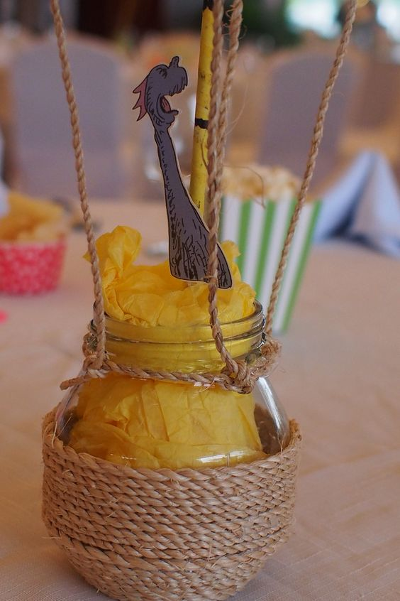 Up close view of Centerpieces based on Oh the places you will go by Dr. Seuss