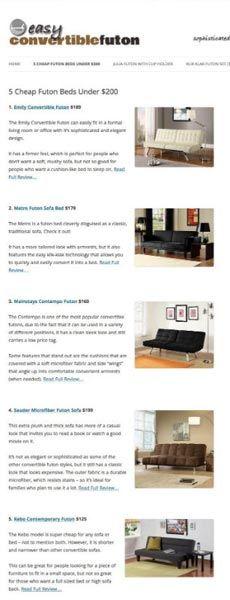 5 cheap convertible futons - that don't look cheap. Multiple reclining positions, pillow-top cushioning, matching chaise loungers, etc... #klikklak #convertiblefuton #cheapfutons