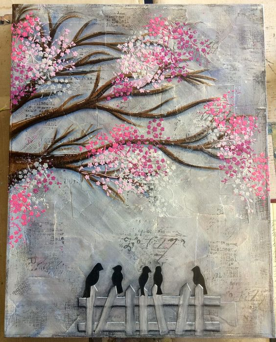 Mixed media canvas in a class with Michelle Webb @ Art From The Heart   by Tr4cy1973