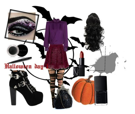 """Halloween day 1"" by fluttermause ❤ liked on Polyvore featuring Alice + Olivia, Balmain, Jeffrey Campbell, Allstate Floral, NARS Cosmetics and Mary Kay"