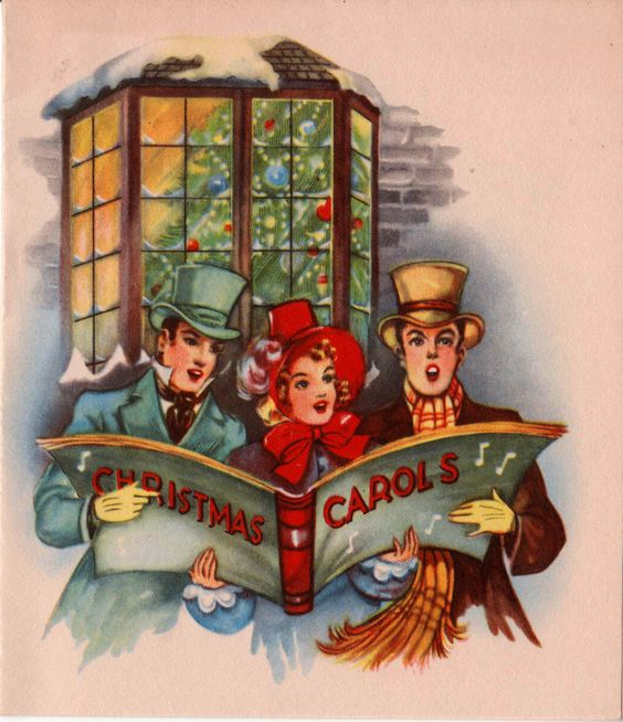 Vintage Wooden Christmas Carolers Set Of 3 Victorian: 1940s Christmas Carols Greetings Card (B1)