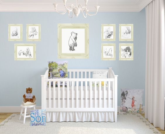 Winnie The Pooh Classic Vintage Nursery With Prints And