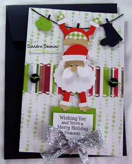 Santa on a clothes line - cute card!
