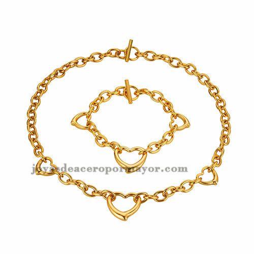 collar y brazalete de moda oro dorado corazon en acero inoxidable para mujer ,SSNEG011758