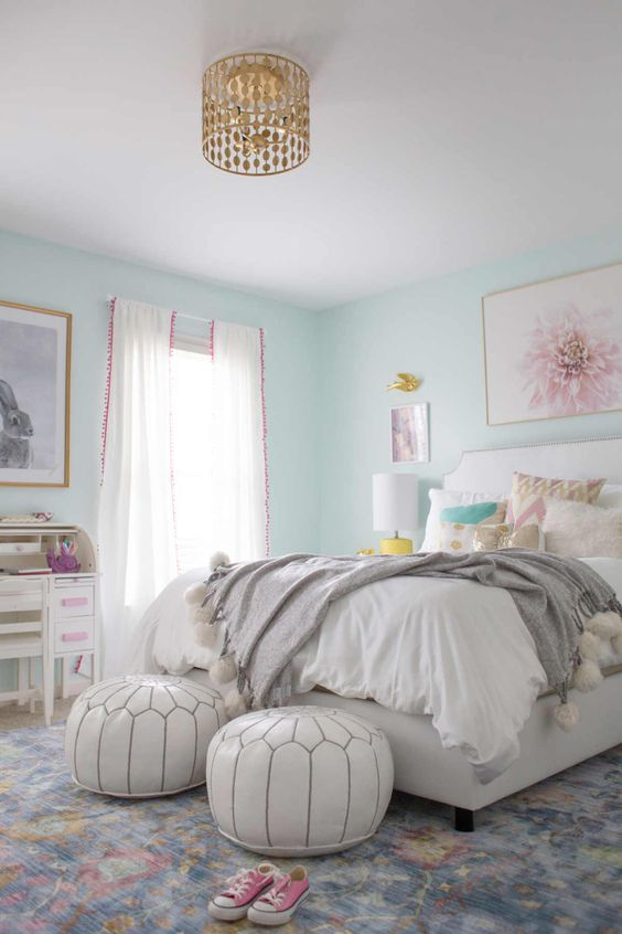 Kombinasi 2 Warna Cat Kamar Tidur Biru dan Pink 7