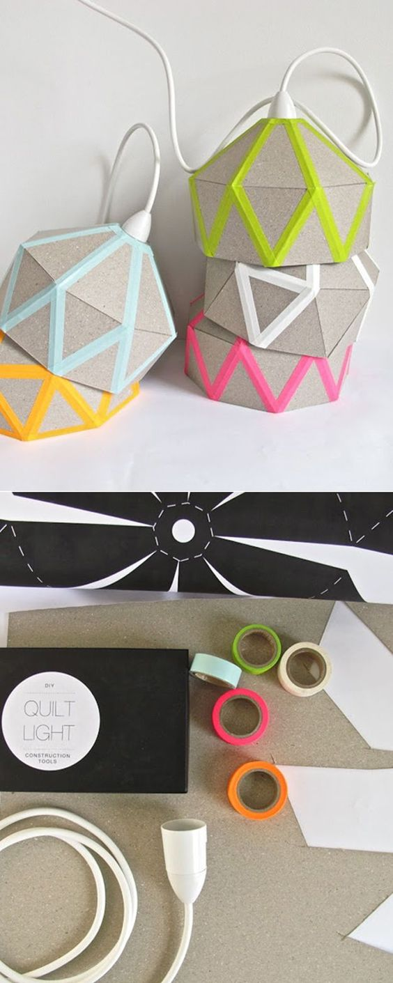 Cheap Upcycled Washi Tape Lighting Projects | DIY Lamp from Cardboard and Washi Tape by DIY Ready at http://diyready.com/100-creative-ways-to-use-washi-tape/: