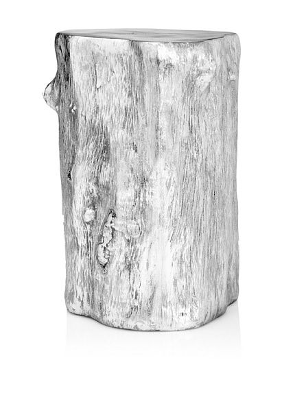 Log Stool, Silver Leaf