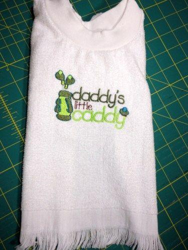 Bib for Toddler Golf Daddys Little Caddy Embroidered Pullover Towel | PinkCloudsAndBabyBlue - Children's on ArtFire