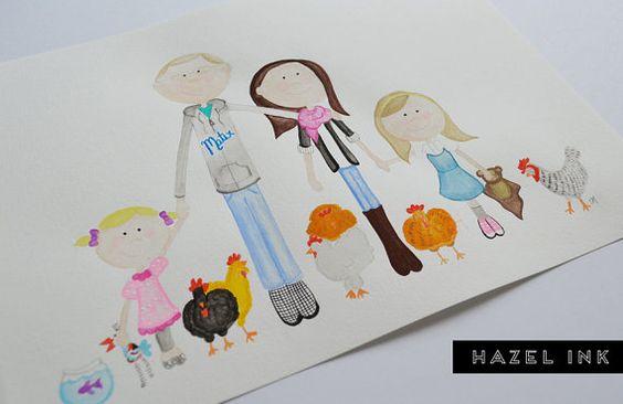 custom watercolour portrait 5 to 7 people by hazelinkshop on Etsy, $50.00