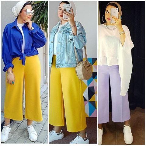 افكار بناطيل واسعه محجبات 2021 ملونة بناطيل قماش واسعة للبنات 2021 Fashion Culottes Pants