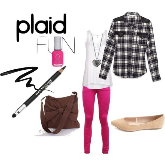 """Plaid/checked """"What I wore today"""" by Kiran on Polyvore"""