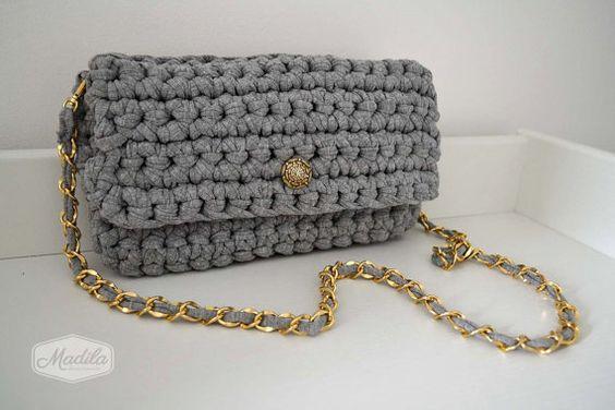 Cotton handbag crochet clutch handmade with eco friendly knitted Tshirt yarn / Trapillo. Bag shoulder strap