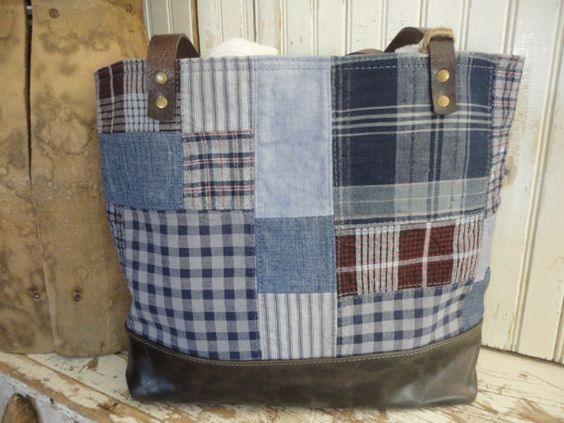 Antique Patchwork Tote Large Bag Purse Over Dyed by TnBCdesigns