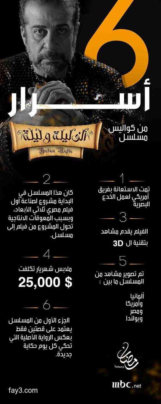 أسرار مسلسل ألف ليلة وليلة مسلسلات رمضان ٢٠١٥ Infographic Movie Posters Poster