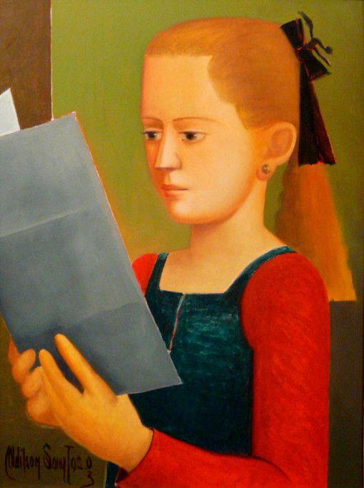 adilsonsantos, (Brasil)Menina lendo jornal,osm, 33x24cm