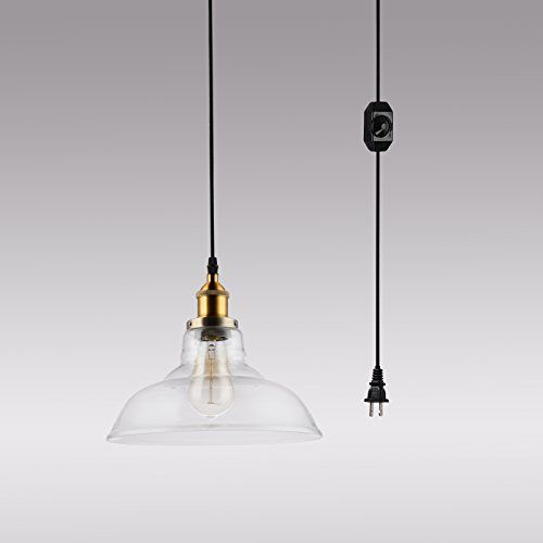 Hmvpl Glass Hanging Lights With Plug In Cord And Onoff Dimmer Switch Updated Industrial Edison Vintage Swag Pe Hanging Lights Dining Room Lighting Pendant Lamp