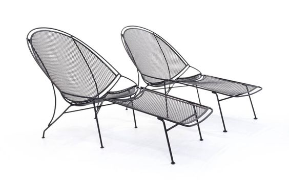 Rare Pair of John Salterini Patio Chaise Lounge Chairs with removable footrests. 2