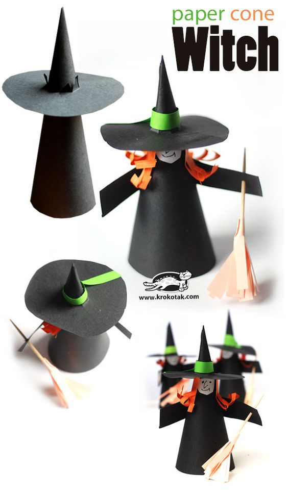 Artisanat basteln and octobre on pinterest - Sorciere halloween a fabriquer ...