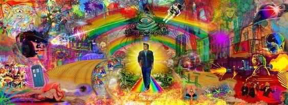 #acid #viaje #astronauta #setas #arcoiris #trippy