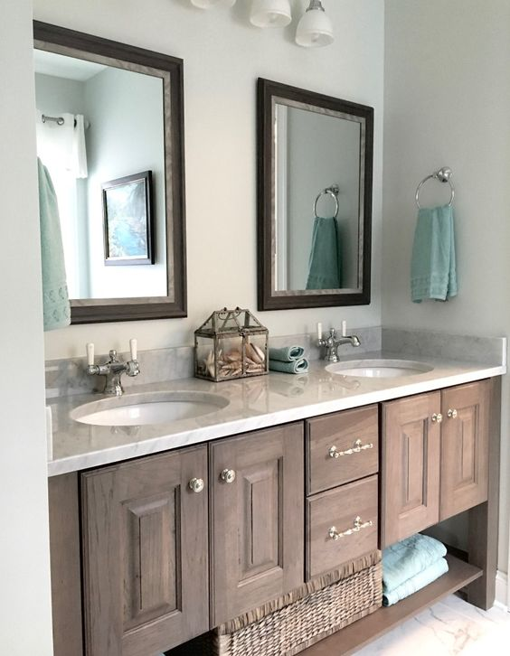 Bathroom Vanity Rochester Ny gray pickled pine and glazed bath vanity and carrera marble in the