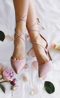 Pastel pink suede heels for women with straps. Fashion Trends. Romantic style.