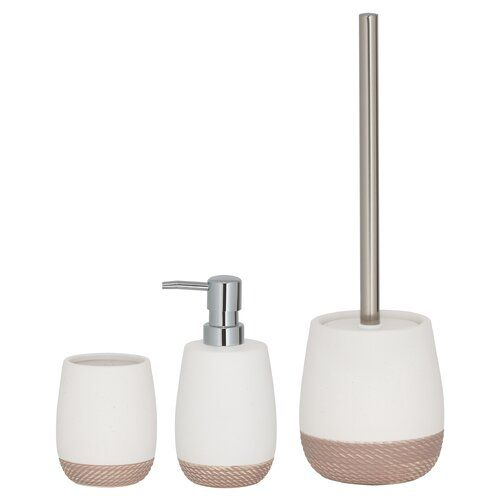 Jasper 3 Piece Bathroom Accessory Set Belfry Bathroom Finish White Bathroom Accessories Sets Bathroom Accessories Toilet Brush